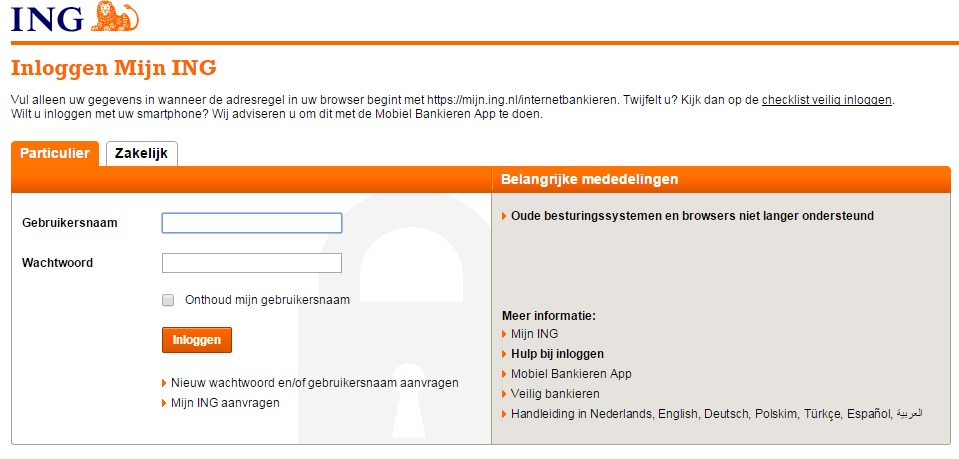 Internetbankieren met PC en digipass